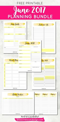 The free printable June 2017 planning bundle is here! You get habit tracker, goal planner, meal planner, to-do list, month planner, weekly planners, shopping lists {newsletter subscription required}