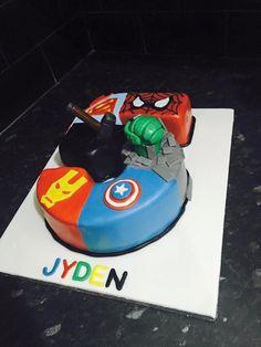 Number 5 superhero cake, ironman, captain America, Spider-Man, superman and thor