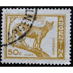 Argentina, Wild Life, Puma, 50c, yellow-brown, 1959,used