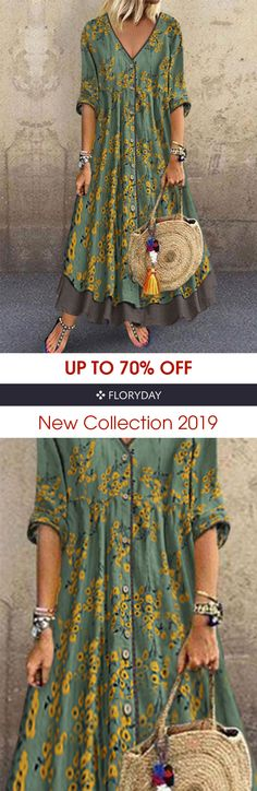 Floral V-neckline half sleeve maxi A-line dress, floral style, comfy, gorgeous. Pretty Outfits, Beautiful Outfits, Cool Outfits, Moda Hippie, Hippie Style, My Style, Bohostyle, Look Fashion, Womens Fashion