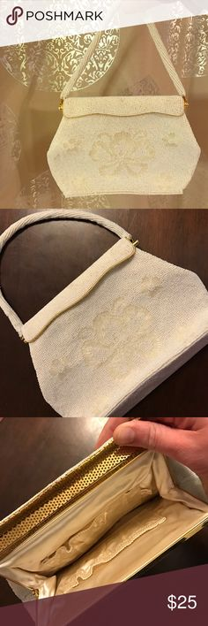 Gorgeous vintage beaded purse! White, cream, gold! Amazing vintage purse! White cream and gold with a hinge flap closure. Fully beaded and perfect for a night out with some style! Brand new condition! be sure to check out my other listings, and bundle to save! :) Authentic Original Vintage Style Bags