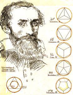 Johannes Kepler with planet platonic intervals – 1992