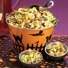 RECIPE: Halloween Goldfish Munch. This goulish recipe makes a snappy party snack or a take-away treat for guests. Kids can even help making this Halloween treat!  Halloween Harbor snack.