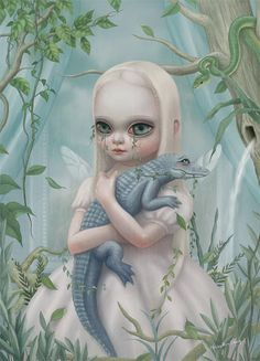This one is Crocodile Is Eating My Sorrow, Hsiao Ron Cheng, but it reminds me a lot of a beautiful print I have called Albino Alligator by Jasmine Becket-Griffith.