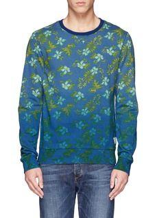SCOTCH & SODAFade effect Hawaiian floral print sweatshirt