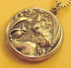 Owl & girl.  Vintage gold locket.  Art nouveau.  Repousse technique.  Stunning craftsmanship.