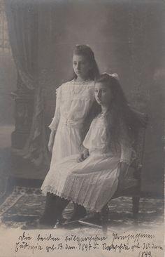 Princesses Nadezhda and Eudoxia of Bulgaria, daughters of Tsar Ferdinand of Bulgaria and Marie Luise Bourbon- Parma