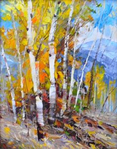 Dean Bradshaw - Montgomery Lee Fine Art Watercolor Landscape, Abstract Landscape, Landscape Paintings, Watercolor Paintings, Landscapes, Abstract Tree Painting, Acrylic Painting Canvas, Abstract Art, Birch Tree Art