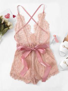 edec52ce1a291 Eyelash Lace Criss Cross Romper Bodysuit -SheIn(Sheinside) Lingerie Dress