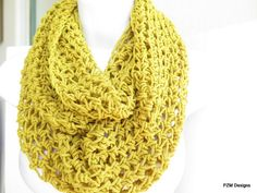 Yellow crochet cowl  cozy mustard loop scarf  unisex by pzmdesigns. This scarf is made from 100% cotton.