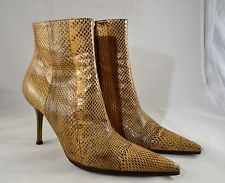 DOLCE & GABBANA TAN/ BROWN SNAKESKIN ZIP SIDE ANKLE BOOTS SIZE 37.5