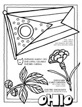 State coloring pages: flag,flower, map, etc