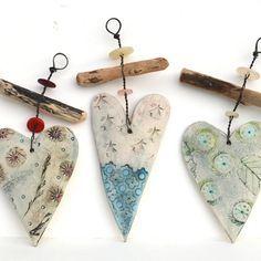 Ceramic Heart And Driftwood Hangers - CoastalHome.co.uk: Driftwood