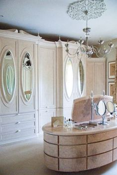 elegant oval mirrored doors