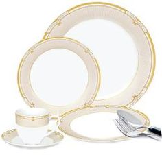 Lorenzo 20-piece Porcelain Green and Gold Dinnerware Set