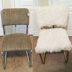 Shabby $4 Goodwill chair transformed into a chic white and gold faux fur chair. Easy and affordable DIY