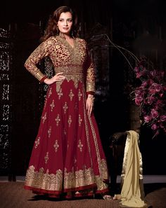 $128.42 Dia Mirza Maroon Georgette Bollywood Anarkali Suit 57785