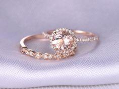 2pcs Wedding Ring Set,Morganite Engagement ring,14k Rose gold,Art Deco diamond Matching Band,7mm Round Stone,Personalized for her/him,Custom by milegem on Etsy https://www.etsy.com/listing/270480733/2pcs-wedding-ring-setmorganite