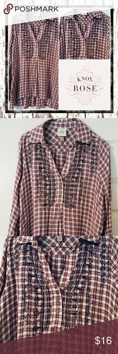 KNOX ROSE Rayon top Pretty maroon thread on cream canvas with fine metallic thread running throughout. Black embroidery adorns the front chest. Top is super soft and Comfy Rayon. Machine wash. Long sleeves. Button front. Never worn. Size M. Knox Rose Tops Blouses