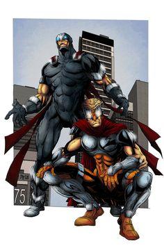 Powerman and Kid Kapow by DEADNEMO