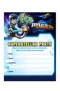 Free Miles from tomorrowland birthday party invitations. Print of these invites for guests and fill them in. Lots more free printables for the theme including treat toppers,activities etc.