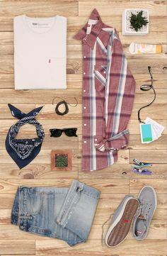 Rock cool classics during festival season. Pair denim shorts with a white tee and a Levi's one-pocket shirt. Finish strong with shades and a bandana.