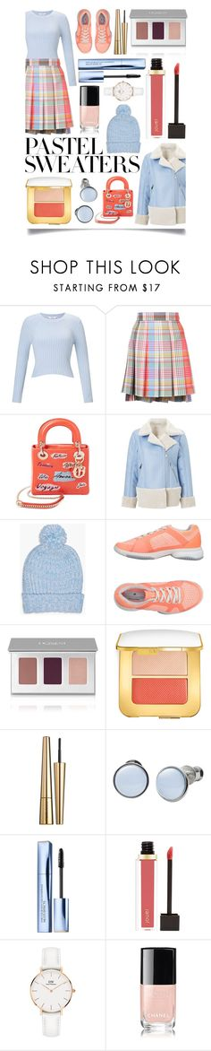 """""""So Sweet: Pastel Sweaters"""" by ittie-kittie on Polyvore featuring Miss Selfridge, Thom Browne, Christian Dior, Boohoo, adidas, Tom Ford, Victoria Beckham, Skagen, Estée Lauder and Jouer"""