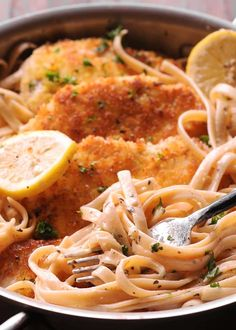 Creamy Lemon Garlic Chicken Pasta is an easy to make weeknight dinner! Parmesan crusted chicken on top of amazing lemon garlic pasta! Comforting, easy and delicious, it comes together fast in only 30 minutes! This creamy Lemon Garlic Chicken Pasta, Chicken Pasta Dishes, Chicken Recipes, Cat Recipes, Bread Recipes, Recipies, Crusted Chicken, Parmesan Crusted, Garlic Parmesan