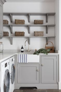 Clever Storage Ideas For Your Tiny Laundry Room Storage Ideas Laundry room shelving is one of the easiest ways to make any room in your home look cleaner. Many people want to get into their home-improvement busin. Tiny Laundry Rooms, Laundry Room Layouts, Laundry Room Shelves, Laundry Room Remodel, Laundry Room Organization, Laundry Room Design, Small Utility Room, Utility Room Storage, Utility Room Designs