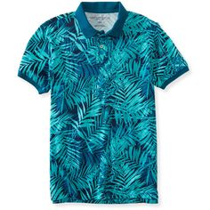 Aeropostale Palm Frond Jersey Polo ($12) ❤ liked on Polyvore featuring men's fashion, men's clothing, men's shirts, men's polos, grecian blue, mens cotton shirts, mens button shirts, aeropostale mens shirts, mens palm tree shirt and mens blue polo shirts