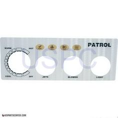 Faceplate Label 3-Button, Patrol Spa Side