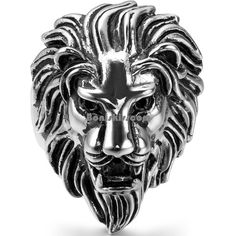 Biker Men's Vintage Casting Black Silver Stainless Steel Lion Head Ring Band #UnbrandedGeneric #Band