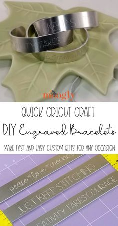 DIY Engraved Bracelets: Quick Cricut Craft Tutorial - Moogly DIY Engraved Bracelets are an amazing (FAST!) custom gift you can make for anyone on your gift list with this Quick Cricut Craft tutorial on Moogly! Engraved Bracelet, Engraved Jewelry, Metal Jewelry, Custom Jewelry, Circuit Crafts, Do It Yourself Jewelry, Cricut Craft Room, Metal Engraving, Cricut Tutorials
