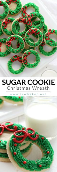 Are you looking for creative Christmas dessert ideas as a gift? This Sugar Cookie Christmas Wreath is not just one of the easy Christmas cookie recipes you can make but also fast and fun for everyone! This is definitely one the best homemade sugar cookies Easy Christmas Cookie Recipes, Christmas Sugar Cookies, Christmas Cooking, Holiday Cookies, Holiday Desserts, Holiday Baking, Christmas Desserts, Holiday Treats, Holiday Recipes