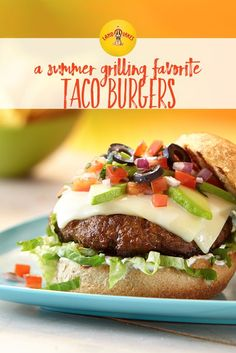 Adding taco seasoning mix to the ground beef mixture gives this burger its south-of-the-border flavor.