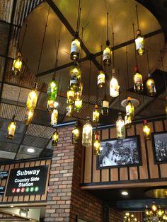 Cool idea for lighting in basement bar