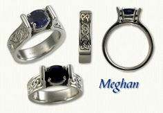 White Gold Celtic Meghan Designed Band with Continuous Heart Knot Pattern on Sides - Set with a Oval Blue Sapphire (set East/West) Celtic Engagement Rings, Heart Knot, Diamond Gemstone, Celtic Knot, Blue Sapphire, White Gold, Band, Gemstones, Pattern