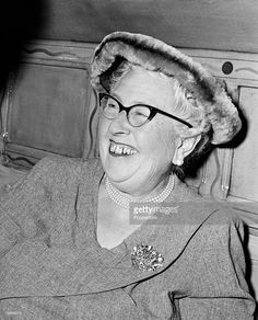London, England, 1957, Author and writer Agatha Christie at a party to celebrate the 1998th stage performance of her play The Mousetrap