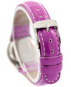 Nueva Violeta Banda PNP de plata brillante de la caja de reloj muy bonito para niños Seguir KW046I