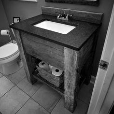 reclaimened wood vanity | Reclaimed Barnwood Vanity with Reclaimed Oak Slab