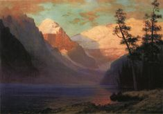 The Athenaeum - Evening Glow, Lake Louise (Albert Bierstadt - )