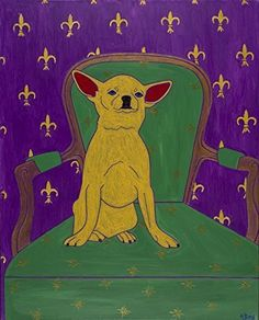 """Chihuahua on Chair Dog Art - Colorful Dog Art MATTED Print - Matisse Inspired by Angela Bond. """"Ruler of the Domain"""", This is a limited edition matted print of one of my pop art paintings. Angela Bond @ 2008 mat size - 11"""" X 14"""" (white mat/ standard size) print size - 7 1/2"""" X 9 1/2"""" high quality print using Epson heavy weight matte paper signed, titled and numbered www.angelabondart.com."""