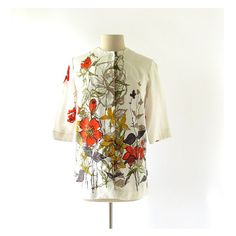 1960s Wildblumen floral print polished cotton blouse, by Fritzi of California