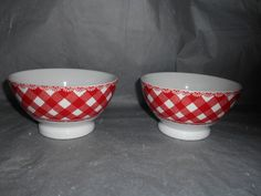 """They are dishwasher & microwave safe.the colors & quality are excellent.The footed bowls have have red plaid on them. This set includes 4pc 222 FIFTH HOME CUPBOARD DINNERWARE. 4- FOOTED DINNER BOWLS 6"""" by 3.5"""" tall with red plaid and lace edge. 