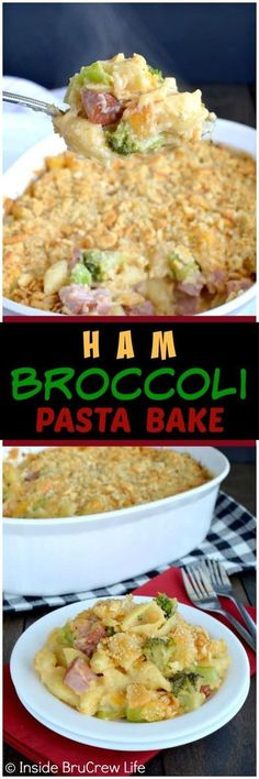 Ham and Broccoli Pasta Bake - this ooey gooey comfort food dinner gets rave reviews from everyone. Great dinner recipe for a chilly night! #comfortfood #casserole #ham #pastabake #dinner