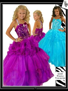 Alluring organza/sequins pageant dress Ritzee Girls 6008. This is the winning dress that will give you the crown just for yourself. This gown is composed of a sequined bodice highlighted at middle of bust with a brooch detail with style. Beaded straps flow to the back in a crisscross design. Just right from the waist a draped skirt is tailored with fun pick ups adding grace to the style. Curl your hair and wear a bracelet. Available in Purple and Turquoise.