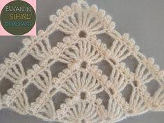 PRATİK ÜÇGEN GELİN ŞALI YAPILIŞI / PRACTICAL TRIANGLE BRIDAL SHAWL PREPARATION - YouTube Crochet Poncho Patterns, Crochet Motifs, Crochet Chart, Crochet Scarves, Crochet Stitches, Free Crochet, Knitting Patterns, Knit Crochet, Crochet Flower Tutorial