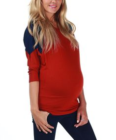 Take a look at this PinkBlush Maternity Red & Navy Maternity Three-Quarter Sleeve Top - Women on zulily today!