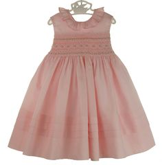 NEW Marco & Lizzy Pink Cotton Sleeveless Smocked Dress with Embroidered Rosebuds from www.grammies-attic.com #EasterDresses