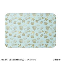 Mint Blue Gold Sea Shells Bath Mat
